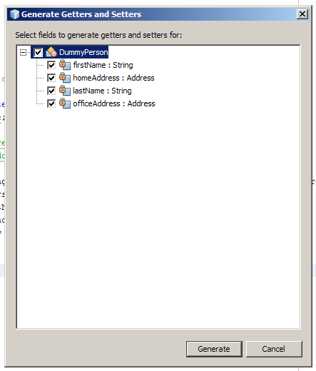 Generate getters and setters dialog
