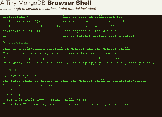 Another Screenshot of Tiny MongoDB Browser Shell