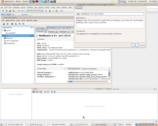 Currently I'm running the NetBeans 7.0, but the VisualVM told me it's NetBeans 6.9+