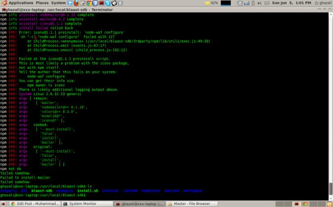 Screenshot saat terjadi error