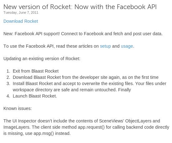 Blaast merilis SDK baru dengan support Facebook API