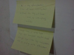 User stories written in sticky notes